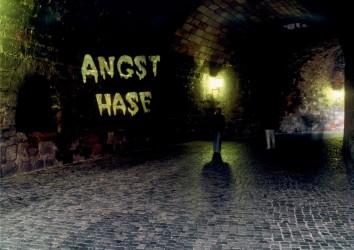 Angsthase, 2002, Gobo-Projektion im Tiergärtnertor Nürnberg